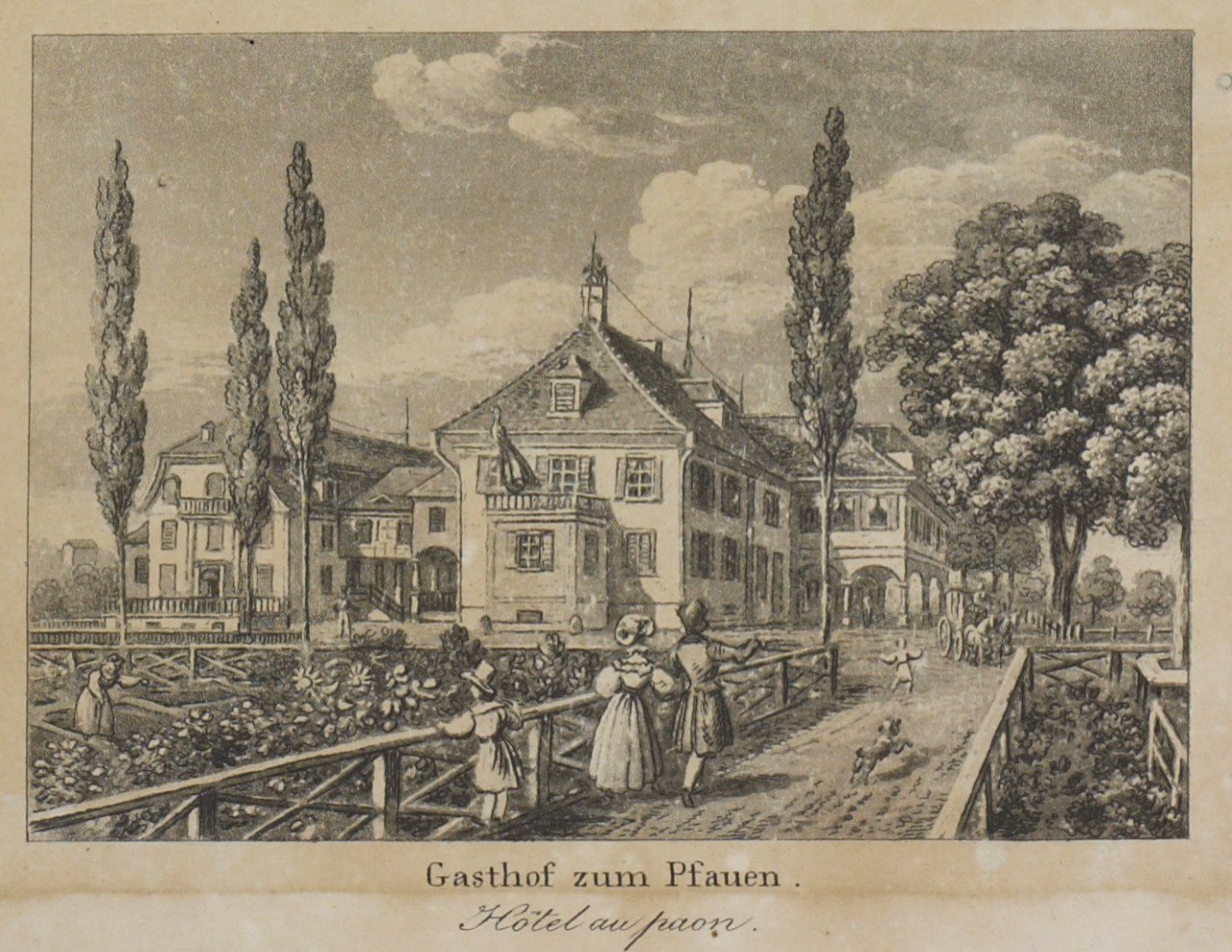 Cooper stayed overnight at the Pfauen in Rapperswil on his first and third trips to the canton of St. Gallen.  Partial view of Rapperswil from an engraving, around 1833. State Archive: Reference Number: ZMH 57/054