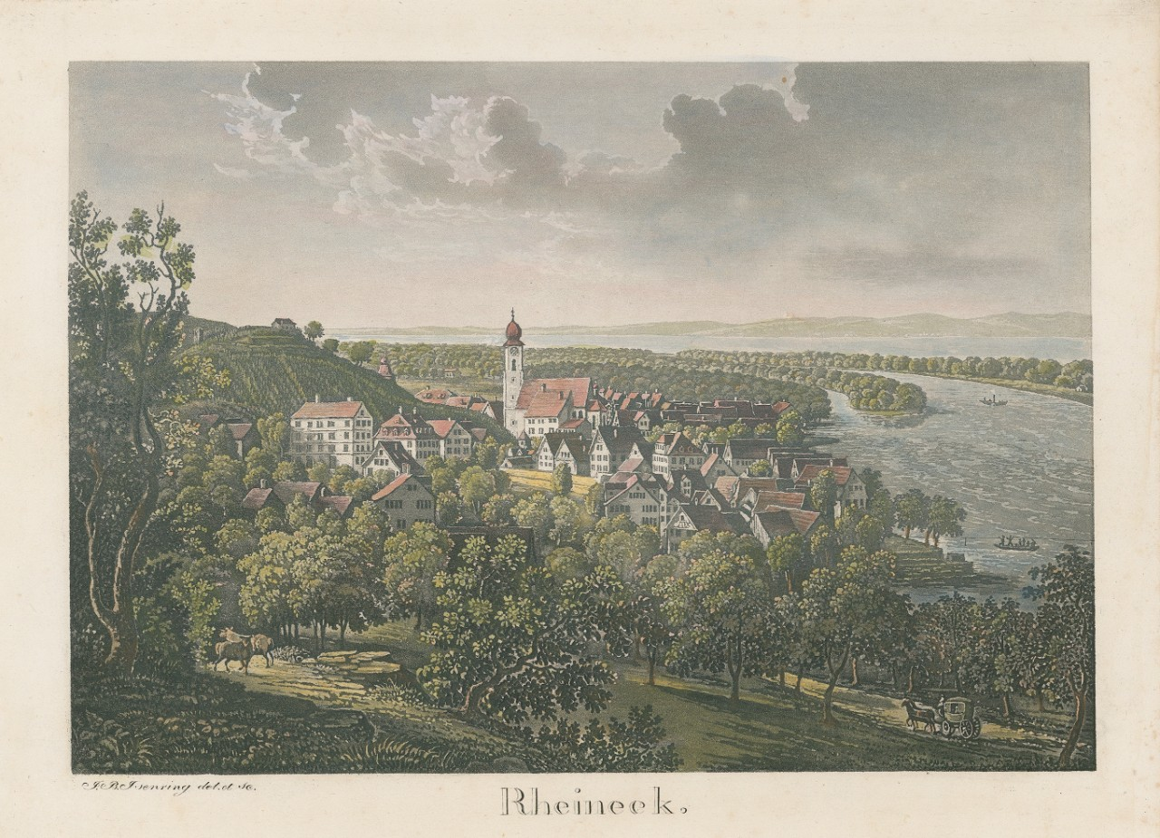 Cooper associated the shape of the church towers in the Rhine Valley with minarets. View: Rheineck, 1833. State Archive: Reference Number: ZMH 59/013